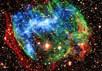 """Комбинация данных """"Чандры"""" (рентген, синий) и обсерватории Паломар (инфракрасный, красный и зеленый) позволила получить это псев"""