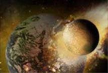 Столкновение с Землей тела размером с Марс. Иллюстрация с сайта Space.com