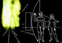 """Коллаж Граней.Ру (использован фрагмент таблички, посланной внеземным цивилизациям на космическом аппарате """"Пионер-10"""" и изображе"""