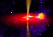 Так художник представляет себе ультраяркий источник рентгеновского излучения, расположенный в соседней галактике NGC 5408. Изображение NASA с сайта www.esa.int