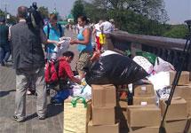 Пункт сбора помощи на Воробьевых горах. Фото Аиды Волконской