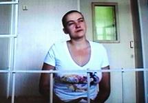 Надежда Савченко на видеосвязи с Воронежским облсудом, 25.07.2014. Фото: moe-online.ru