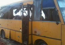 Автобус, обстрелянный под Волновахой. Фото пресс-службы Генштаба Украины