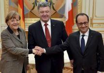Ангела Меркель, Петр Порошенко и Франсуа Олланд. Фото: president.gov.ua