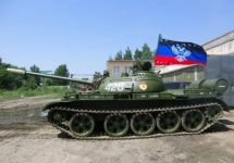 Танк с флагом ДНР. Кадр видеозаписи