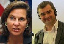 Виктория Нуланд и Владислав Сурков. Фото: state.gov, pustovek.livejournal.com