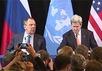 Сергей Лавров и Джон Керри на пресс-конференции в Мюнхене. Кадр трансляции