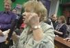 """Мариэтта Чудакова на собрании в библиотеке им.Данте. Кадр """"Граней"""""""