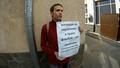 Одиночный пикет у ФМС против концлагерей. Фото Дмитрия Зыкова/Грани.Ру